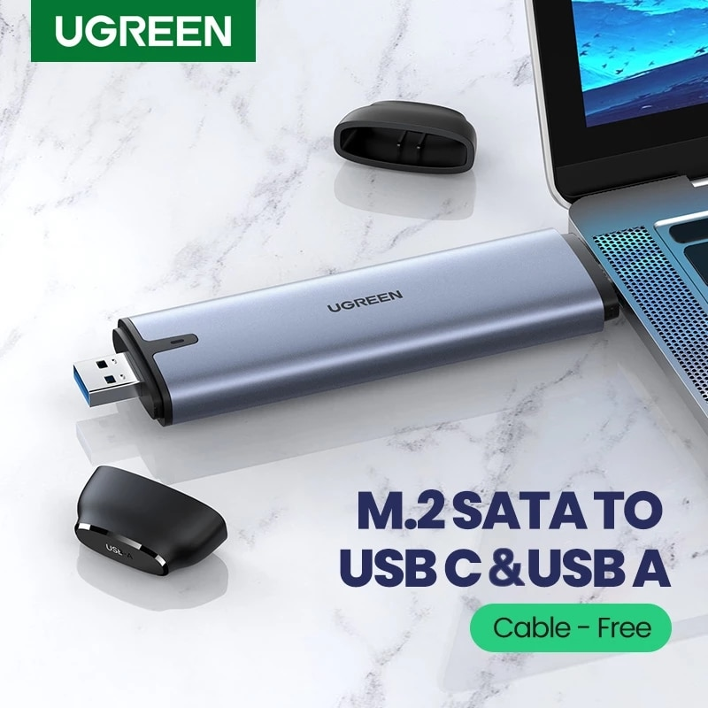 Ugreen 6Gbps SSD Case M.2 B-Key SATA to USB C 3.1 USB 3.0 2-in-1 Adapter Cable-free Converter For M.2 NGFF SSD Hard Drive Case