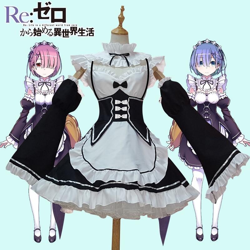 Ram/Rem Cosplay Re cero Kara Hajimeru Isekai Seikatsu a la vida en un mundo diferente Kawaii hermanas trajes criada vestido