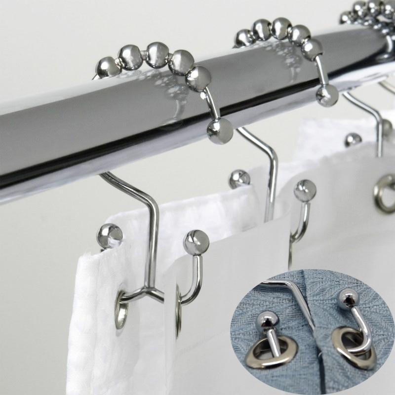 Cortina de baño Rollerball, ganchos de anillo para Cortina de ducha, 5 rodillos satinado pulido Bola de níquel, accesorios de cortina, barras de ducha de baño