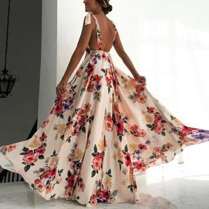 2020 New Womens Dresses Bohemian Printed Big Hem Spaghetti Straps Sleeveless Suspender Backless Floor Length Long Colorful Dress