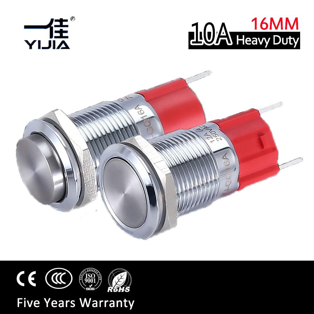 16MM 10A Hohe Strom Metall Wasserdicht Momentary Push Button Schalter 1NO Heavy Duty start-taste