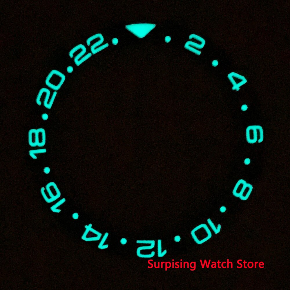 38mm ceramic bezel Insert Super Luminous Fit for 40mm Automatic GMT Men's Watch