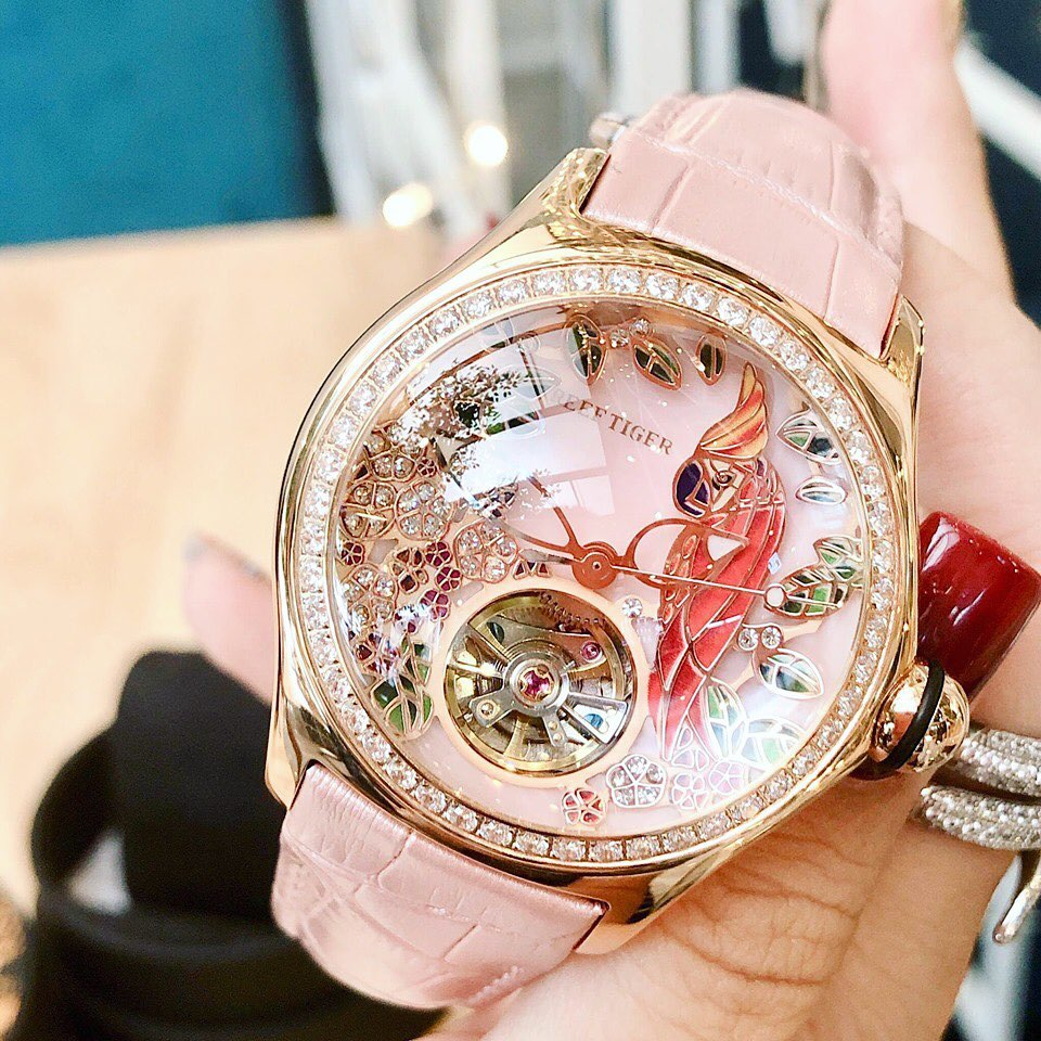 Reef Tiger/RT Fashion Watches for Women Leather Strap Waterproof Automatic Watches Diamond Tourbillon Watch RGA7105 enlarge