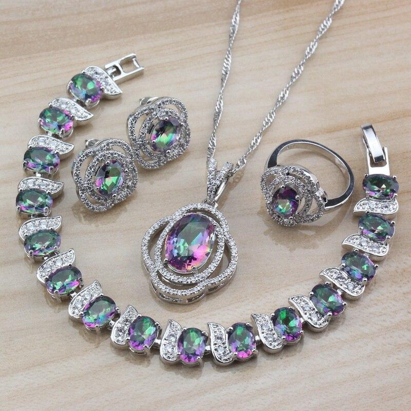 10-color rainbow zircon 4 pçs conjuntos de jóias prata cor brincos do parafuso prisioneiro colar pulseira e anel feminino traje na moda