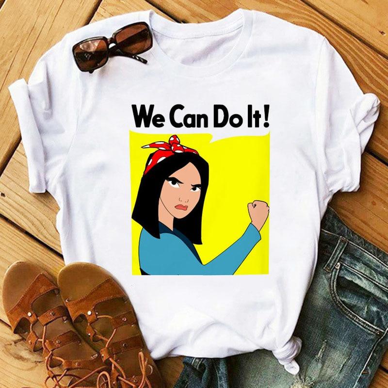HIKE STAR Ms Summer New Fashion Mulan Cartoon Printing Short Sleeve Shirt T-shirts Leisure Ins MEN T-SHIRT WOMEN