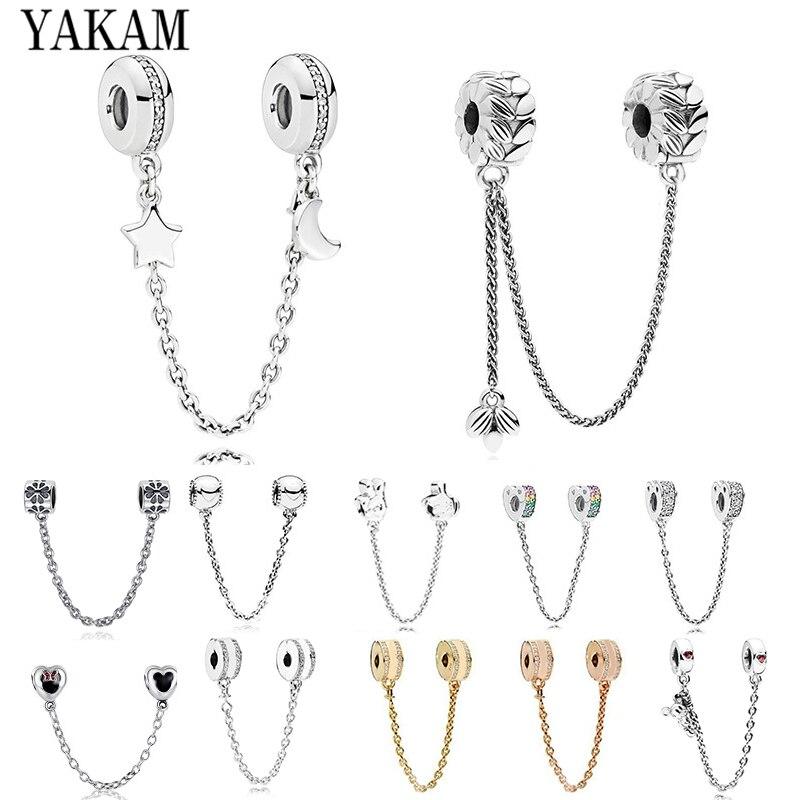 Fit Original Pandora Charms Bracelet Pulseiras 2020 Rose Gold Color Star Heart Safety Chain Beads Women Accessories DIY Berloque