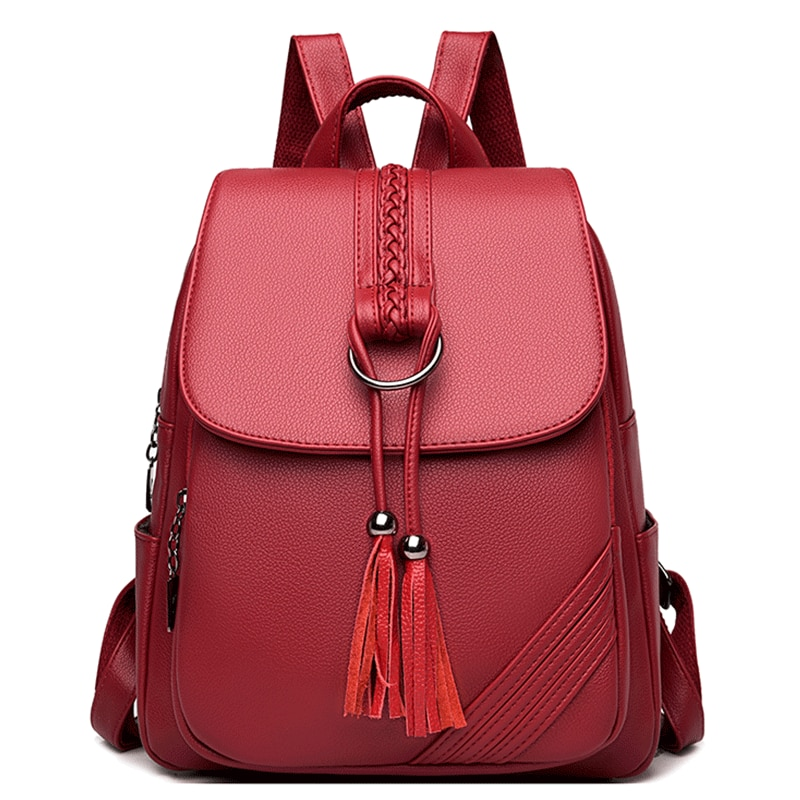 Винтажные женские рюкзаки из мягкой кожи, женские рюкзаки, школьные сумки для девочек, однотонные дорожные рюкзаки с кисточками