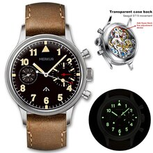 Merkur Retro 38mm Black Dial Men's Pilot Wrist Watch Super Luminous Arched Glass Chronograph Functio
