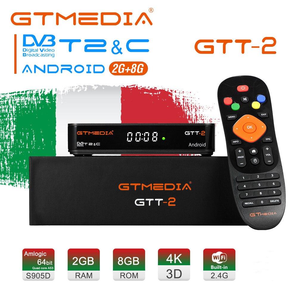 Caixa de tv gtmedia gt2 4k android 6.0 dvb + t/t2/cabo/ATSC-C/isdbt youtube embutido 2.4g wifi amlogic s905d 2gb 8gb uhd conjunto caixa superior
