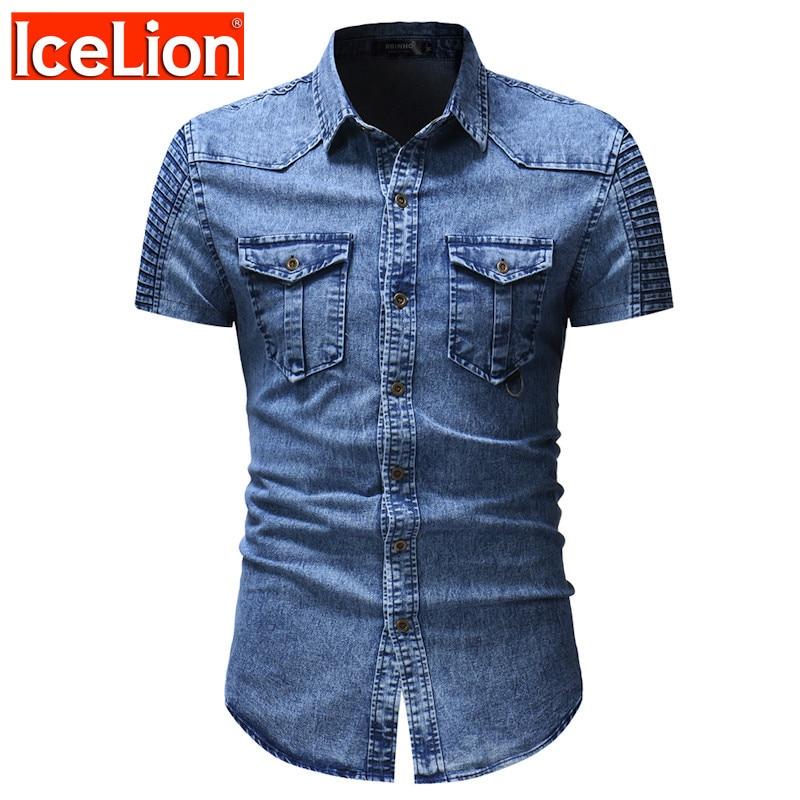 IceLion 2021 جديد قصير الأكمام الرجال القمصان قصيرة أضعاف الأكمام جيب قمصان الموضة عادية الصلبة قمصان دنيم Camiseta Masculina
