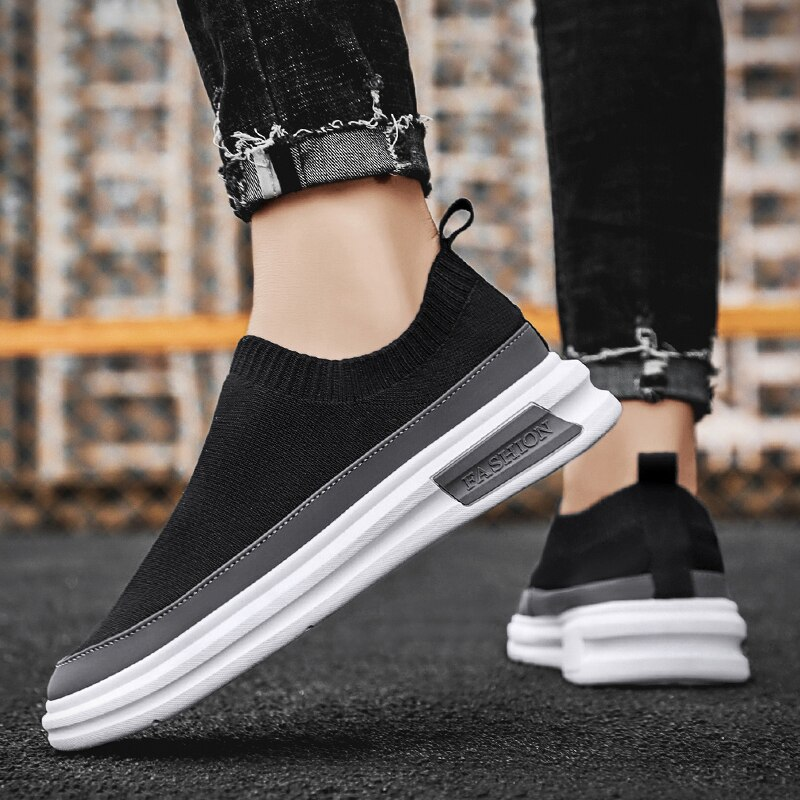 Men's Mesh Slip-on Shoes Without Laces, Breathable Lightweight Fashion Outdoor Sports Jogging Shoes