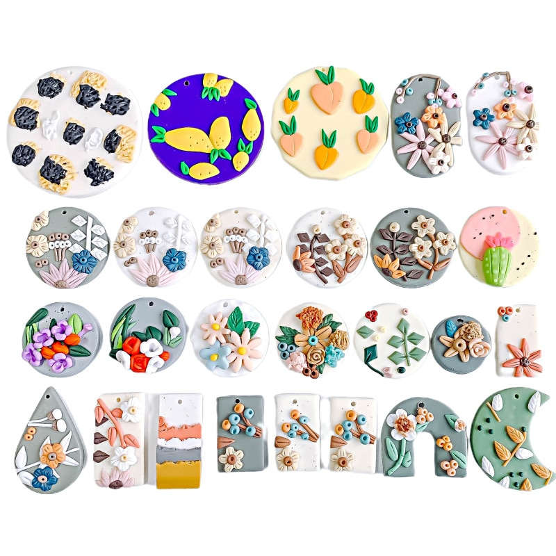 50PCS/lot Retro Soft Pottery Pendant Colorful Hanging Cute Polymer Clay for Women Fashion Jewelry Making Unique Design Earrings