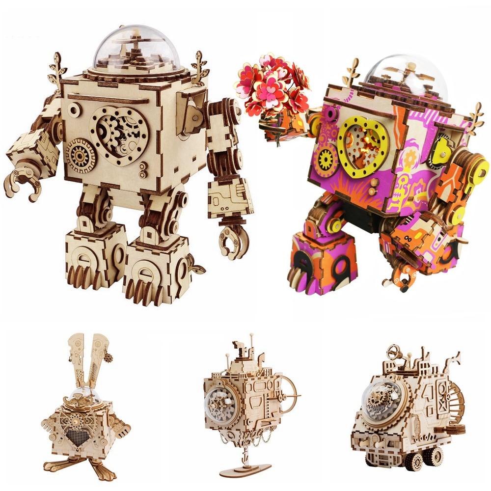 Robotime 5 أنواع مروحة تدوير خشبية لتقوم بها بنفسك Steampunk نموذج بناء مجموعات التجمع لعبة هدية للأطفال الكبار AM601