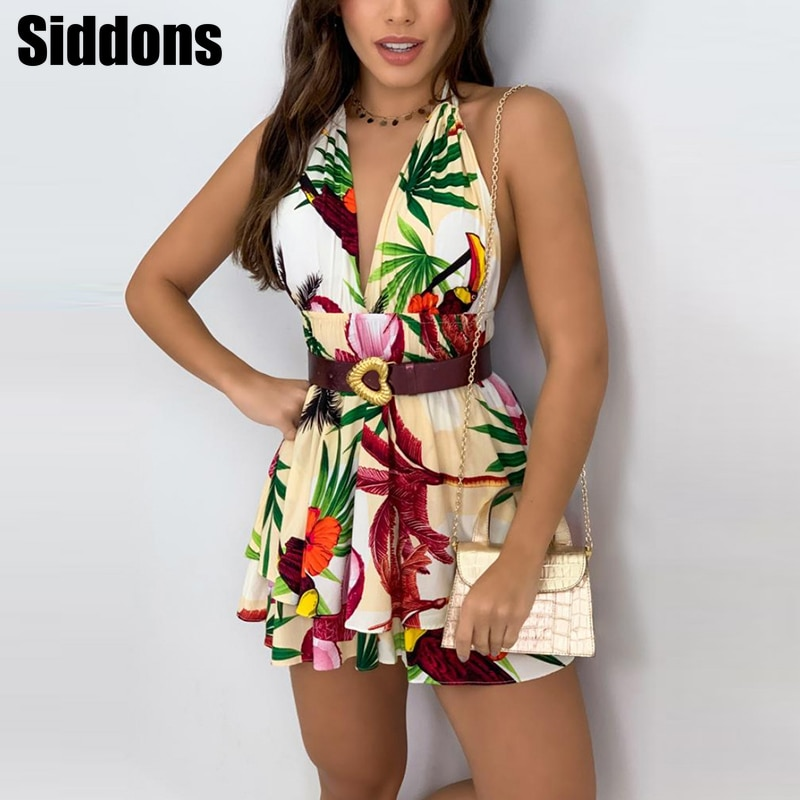 Sexy Halter Backless Summer Beach Dress Women 2021 Spring Deep V-neck Floral Print Mini Dress Ladies