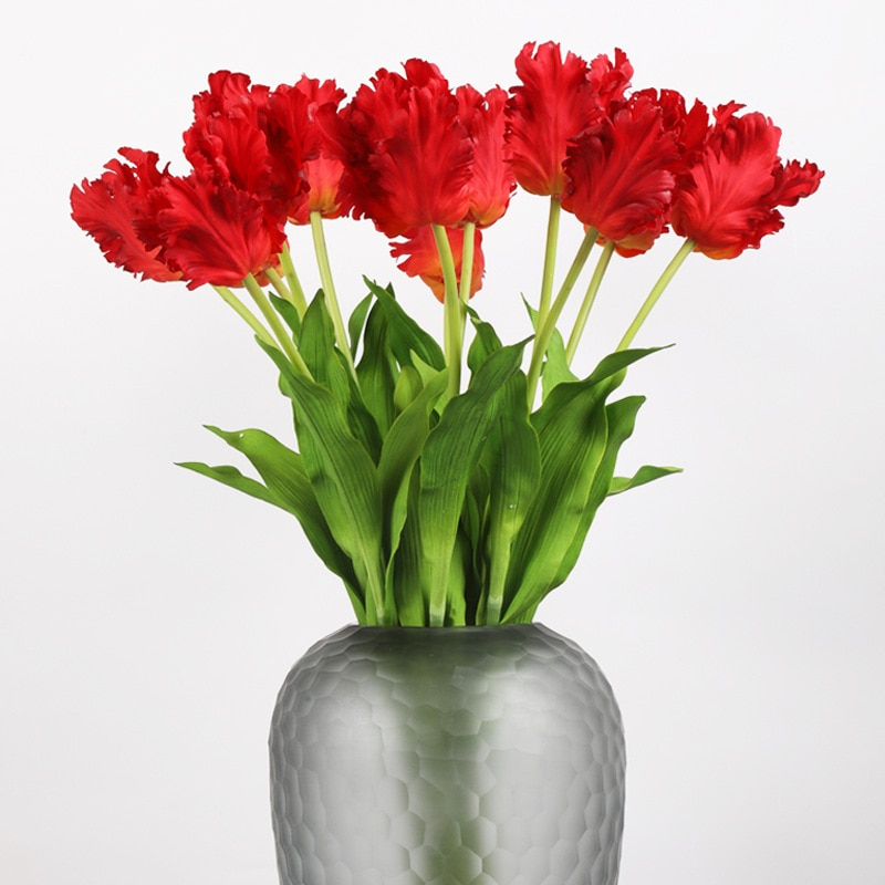 1pcs New Silicone Parrot Tulip 70cm Artificial Flower Real Touch Fake Flower Bouquet for Wedding Decoration Home Garen Decor
