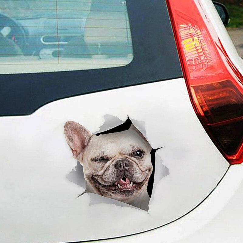 3D divertido perro reloj PVC coche ventana etiqueta impermeable bonito perrito de mascota vehículo adhesivo decorativo para el hogar Auto accesorio