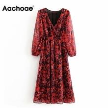 Aachoae Vintage Floral Print Women Long Sleeve Elastic Waist Chiffon Dresses Casual V Neck Midi Female Pleated Dress Vestido