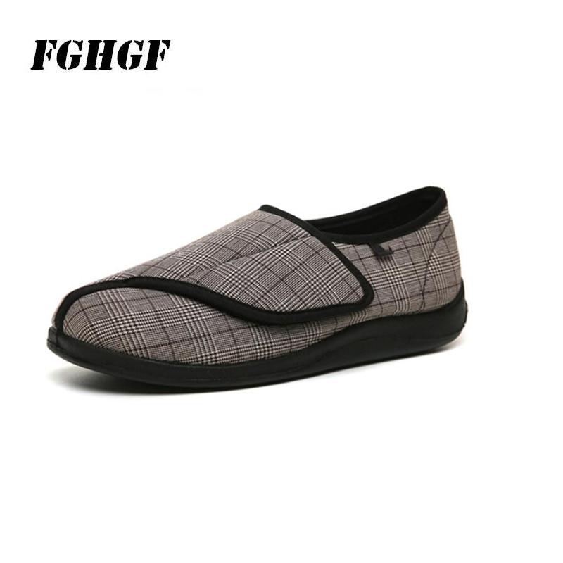 قابل للتعديل عرض ل المسنين أحذية الربيع والخريف جديد الرعاية الأحذية السكر القدم الدهون واسعة القدم تشوه منقوشة اتسعت أحذية
