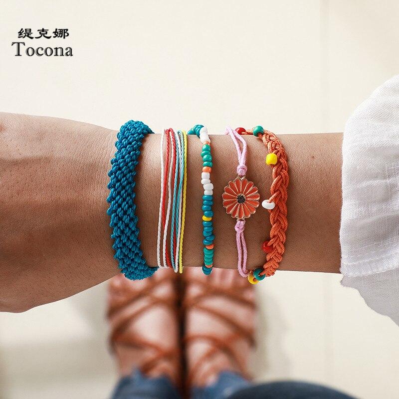 Tocona 5 estilos boêmio colorido corda pulseiras bonito daisy frisado artesanal ajustável verão feminino jóias presente 8310