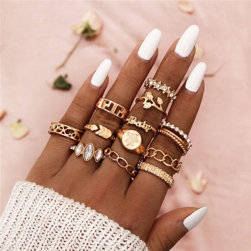 Modyle boêmio cor de ouro aberto cristal anéis de dedo para as mulheres flor estrela seta oco anel de junta de casamento jóias