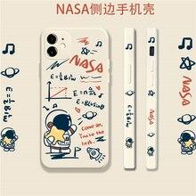 Side Creatieve Cartoon Leuke Graffiti Astronaut Vloeibare Siliconen 11 / 12pro / Max / Mini Apple X/Xs/xr/Se Telefoon Case