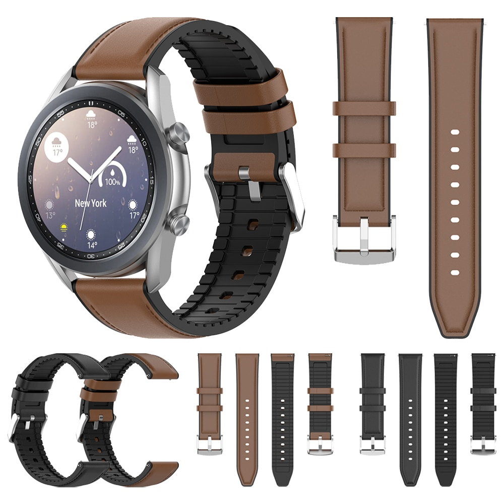 Фото - Leather Silicone Strap For Samsung Galaxy Watch 3 Watch3 45mm 41mm Band Gear S3/Active 2/Galaxy 46mm Watchband Bracelet Belt ремешок samsung stitch leather band для galaxy watch3 45мм watch 46мм коричневый