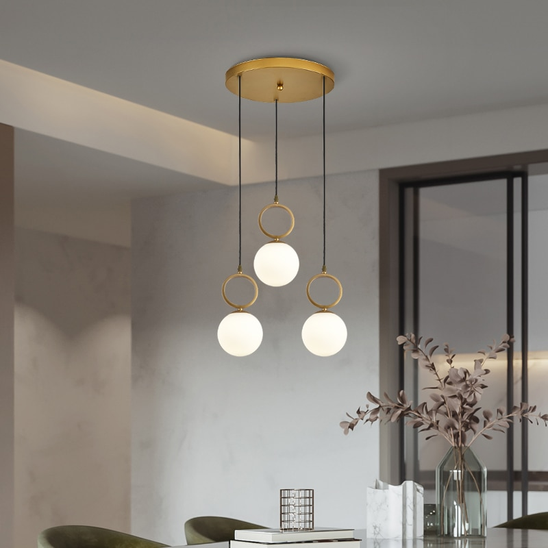 Soft Lighting Luxury Pendant Lights with Glass Ball Lampshade 1/3 Heads Modern Hanging Lanmps