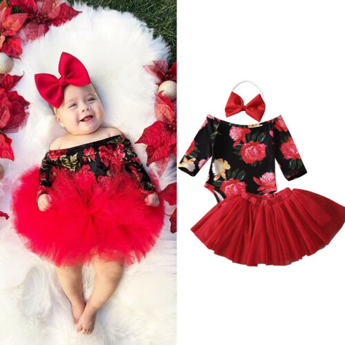 3 uds. Conjuntos de ropa de niña recién nacida 3 uds. Mono con estampado Floral + falda tutú + conjunto de diadema