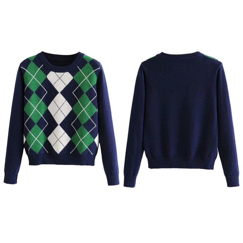 Women Preppy Style Long Sleeve O-Neck Sweater Argyle Plaid Knitted Jumper Tops enlarge