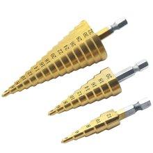 HSS Titanium Coated Schritt Bohrer set Hex Schaft Schritt Kegel Bohren Bit für Metall Holz Bohrer Loch Schneiden Werkzeuge