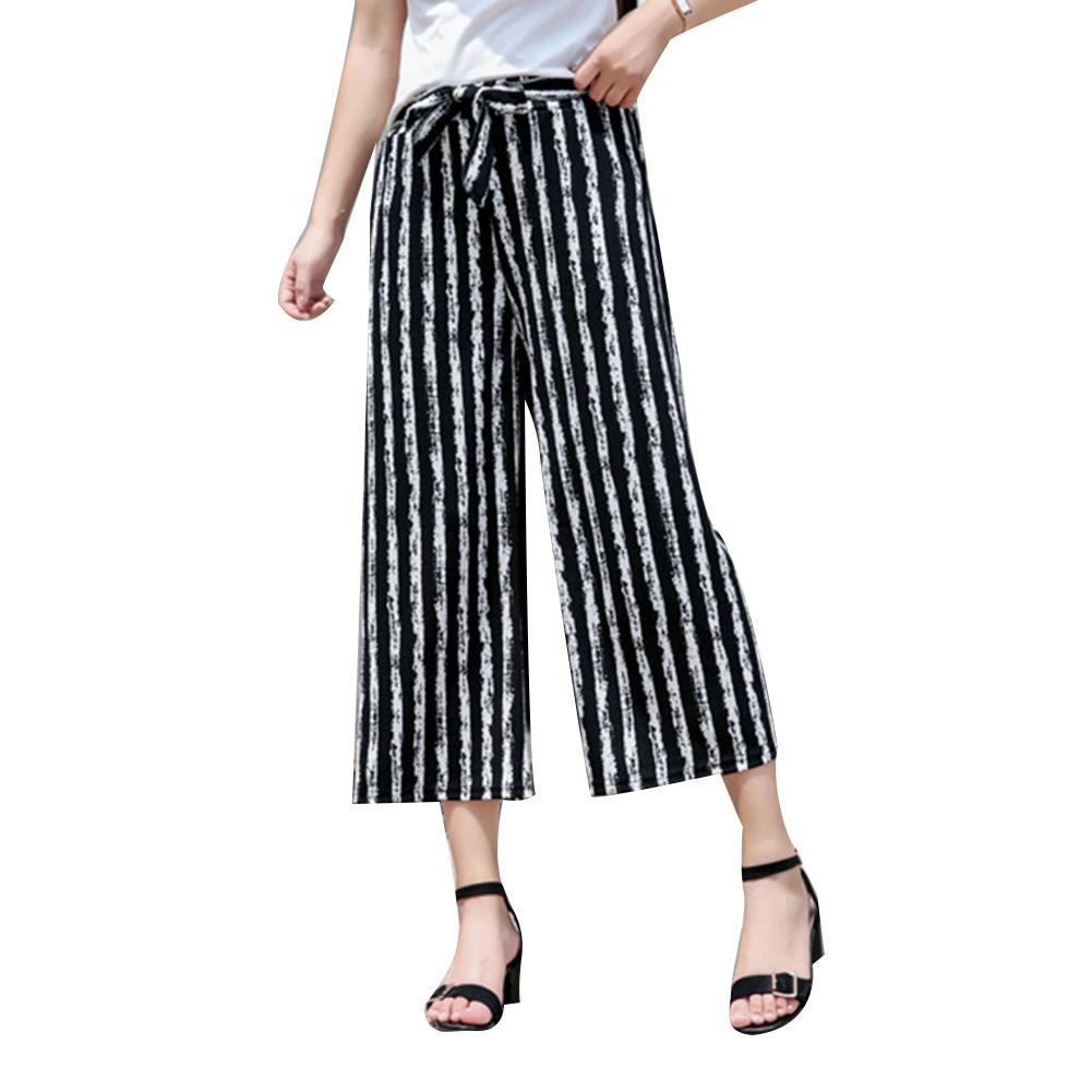 Fashion Women Stripe Loose Straight Wide Leg Drawstring Pants Ninth Trousers
