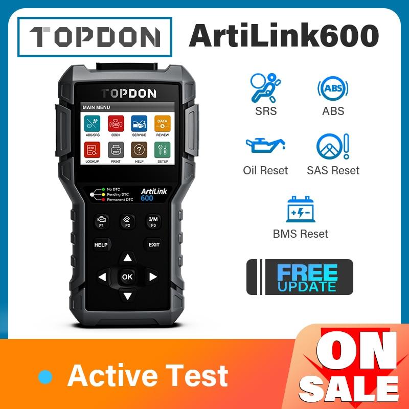 TOPDON ArtiLink600 OBD2 Scanner Car Diagnostic Tool Automotive Scan Auto Diagnostics ABS SRS Engine Test Autoscanner Free Update