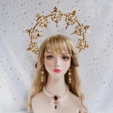 Lolita Gothic Heilige Virgin Halo Haarband Paus Gouden Haar Accessoires Vintag Harajuku Kawaii Hairhoop Props Foto Props Cosplay
