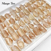 20pcslot mix hollow carved flower ring vintage gold leaf punk band for women jewelry wedding finger rings party gift