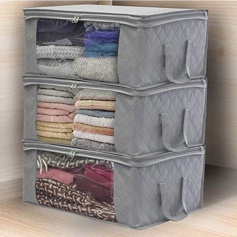 Não-tecido dobrável caixa de armazenamento colcha saco de armazenamento vestuário guarda-roupa caixa de armazenamento janela clara zíper caso à prova de poeira umidade-prova