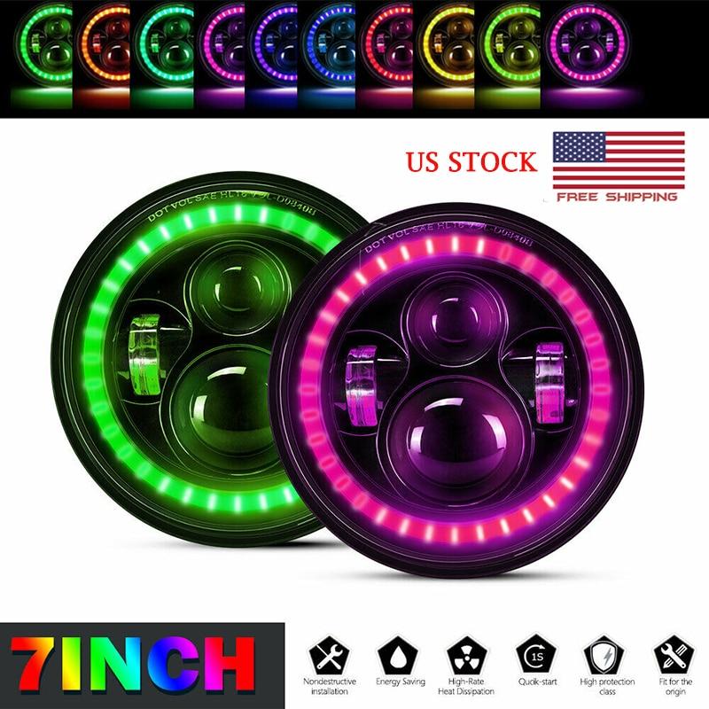 "7"" inch RGB LED Headlight 60W Hi-Low Beam with Angel eyes Multi-color For Jeep Wrangler JK JL TJ CJ LXA"