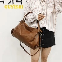new moon style solid color pu leather handbags for women soft light shoulder bags for female