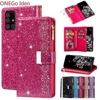 bling case for samsung galaxy a11 a51 a71 s7 s6edge s7 s8 s9 s10 s20 plus s10e and samsung note 8 9 10 zipper leather flip cover