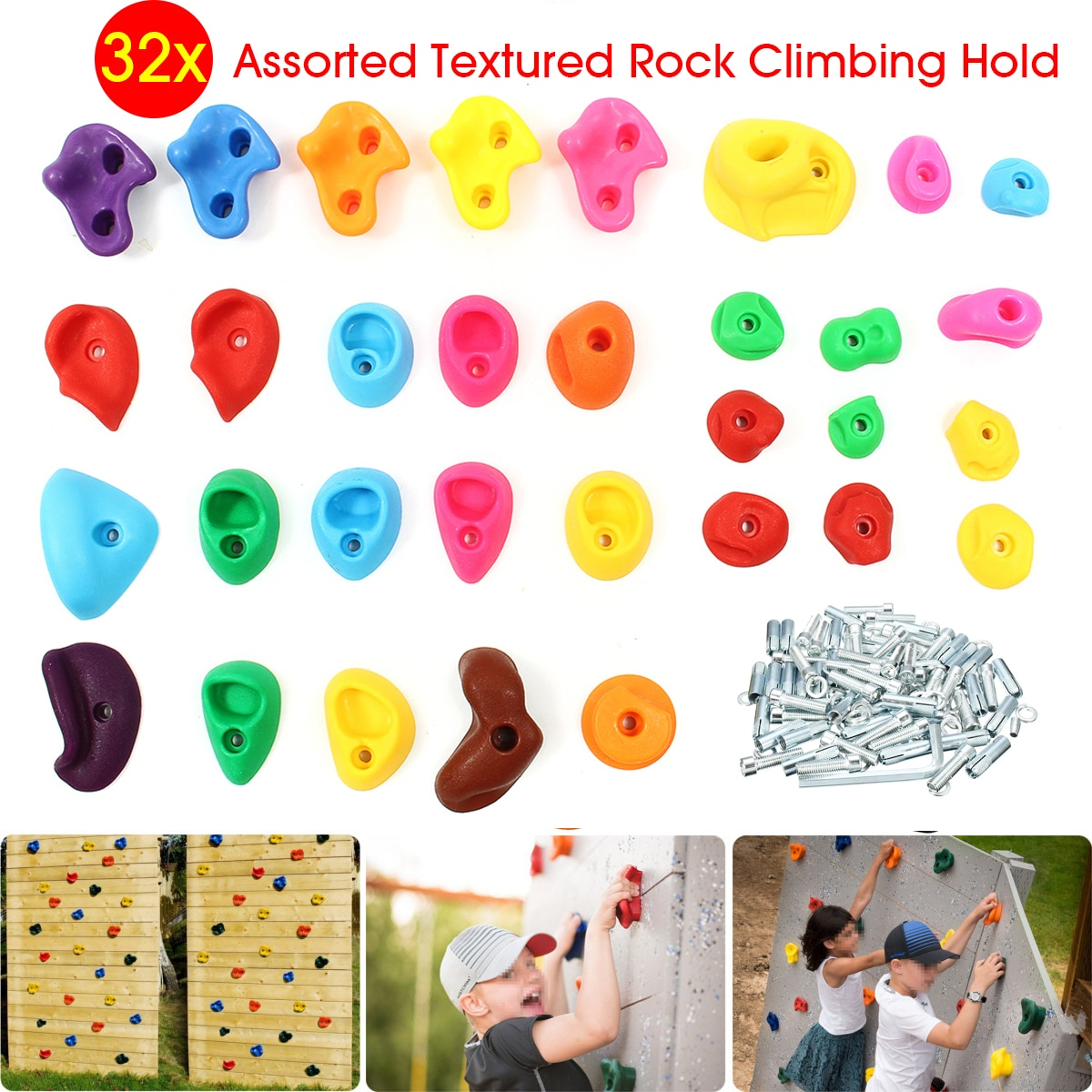 Set de 32 unidades de armazón surtido de escalada en roca, colores variados, piedras de la pared para escalada, sujeción de pies en la mano, juguetes deportivos para niños