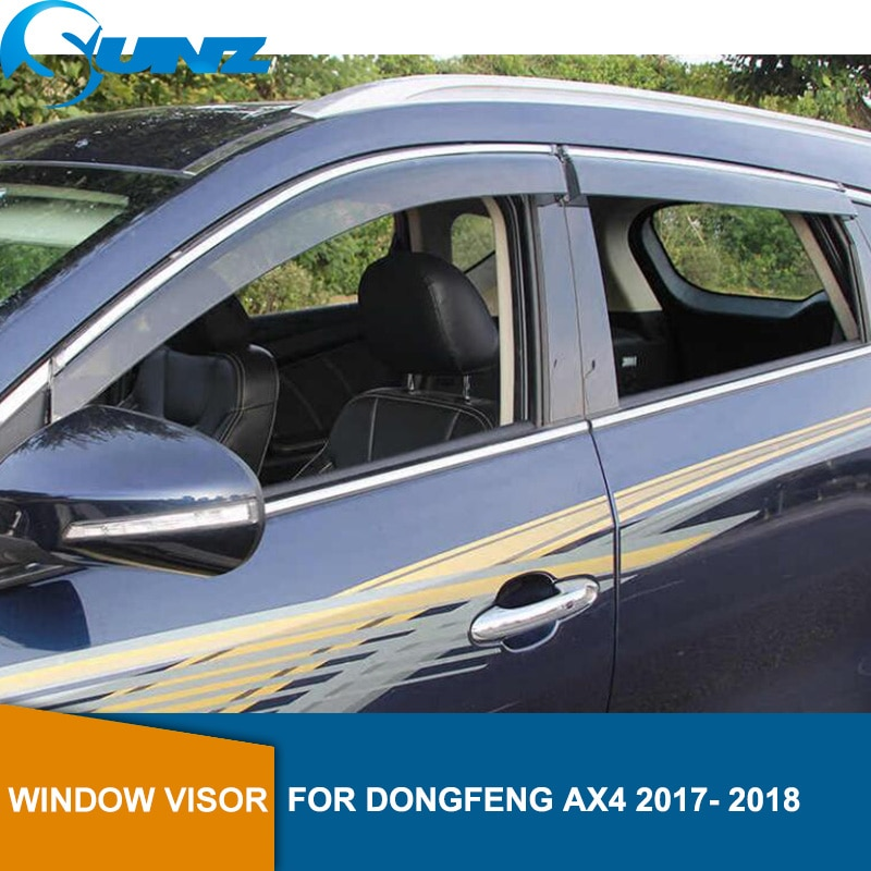 smoke Car Side Window Deflectors For DONGFENG AX4 2017 2018  Sun Shade Awnings Shelters Guards accessories SUNZ