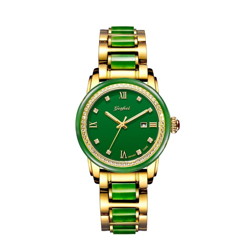 GEZFEEL-ساعة يد نسائية ميكانيكية مقاومة للماء ، ساعة يد أوتوماتيكية ، مينا ملونة من اليشب ، مع وظيفة عرض التقويم