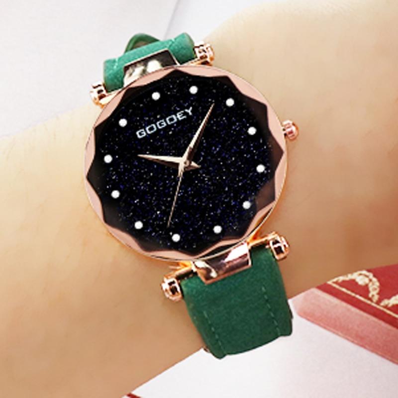 Fashion Casual Women Wristwatch Women Crystal Starry Sky Watches Gogoey Leather Band Quartz Watch re