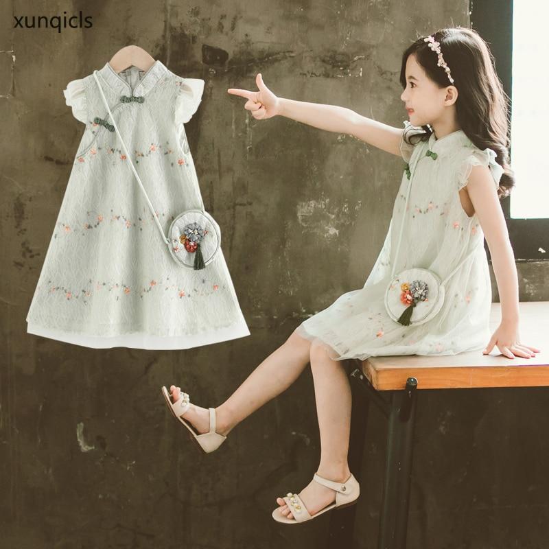 New Baby Girl Cheongsam Dress with Bag 2020 Trendy Girls Party Dresses Children Princess Dress Kids Summer Clothes