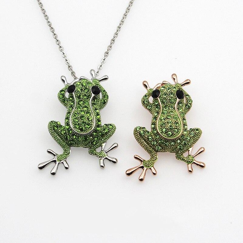 Rana Color oro verde cristal piedra encanto declaración collares y colgantes Animal joyería para las mujeres de moda Boho collar