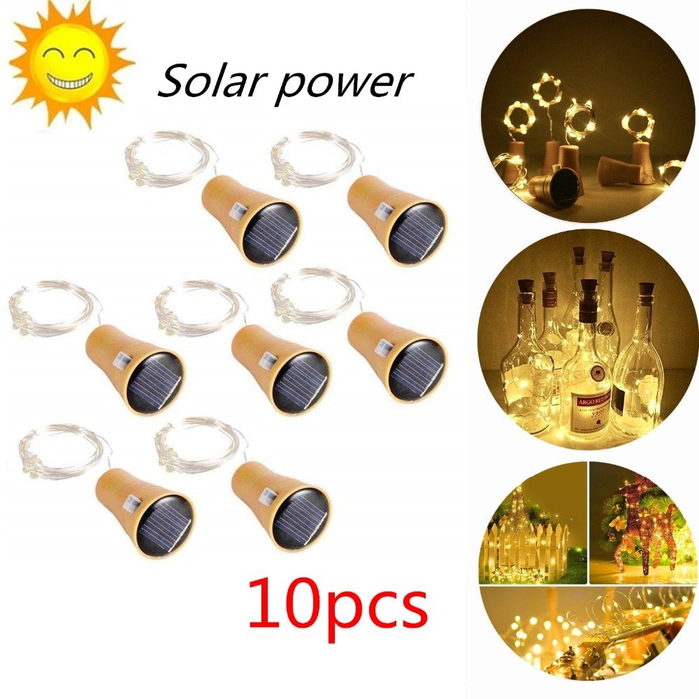 2M 20LED الشمسية بالطاقة النبيذ زجاجة الفلين على شكل LED النحاس سلك سلسلة في الهواء الطلق ضوء الطوق أضواء مهرجان الجنية ضوء