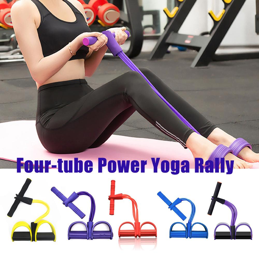 Fitness Gum 4 Tube Resistance Bands Latex Pedal Exerciser Sit-up Pull Rope Expander Elastic Bands Yoga equipment Pilates Workout resistance bands latex elastic pedal exerciser sit up training pull rope waist and abdomen expander bands yoga fitness equipment
