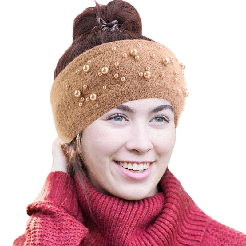 Nueva llegada de invierno de punto de oreja más caliente diadema para mujer abrigo de piel de conejo accesorios elegantes para el cabello imitación de perlas