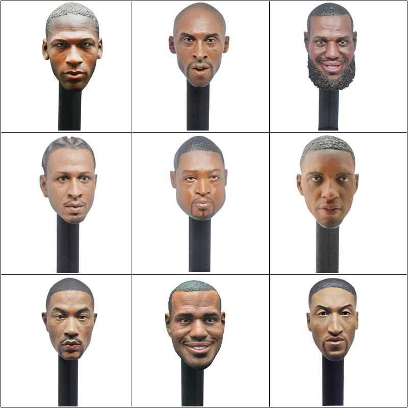 Collection JAMES High Quality Head Sculpt 1/6 Scale Basketball Stars Player Carving Action Figure Toy Doll Accessories