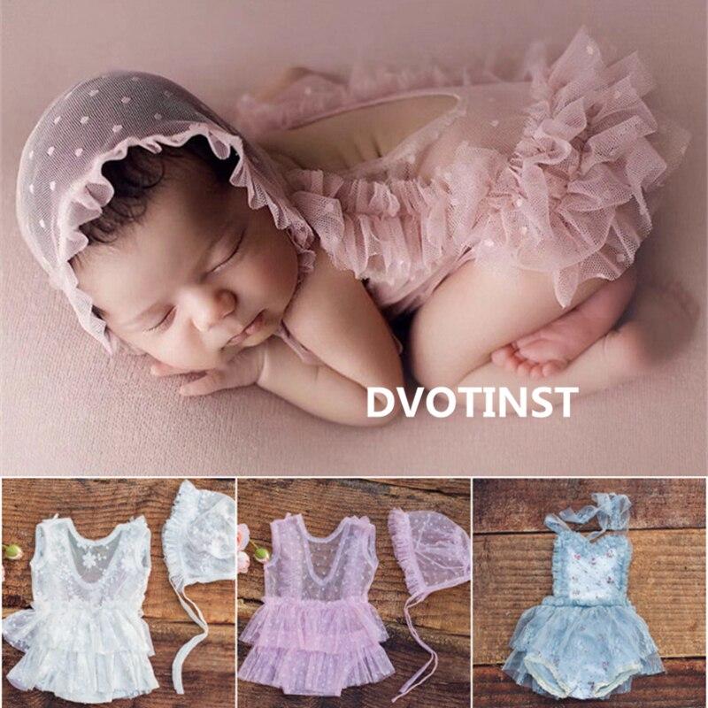Dvotinst newborn fotografia adereços para o bebê bonito rendas outfits bonnet conjunto vestido bodysuit chapéu fotografia estúdio tiro foto adereços