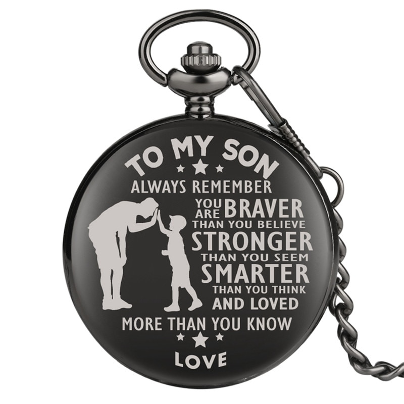 Customized To My Son Series Men Boy Quartz Analog Display Pocket Watch Pendant Chain Fob Watches Arabic Number Display Clock new fashion silver quartz men pocket watch man arabic roman number fob watches smooth surface hour gift short chain dual display